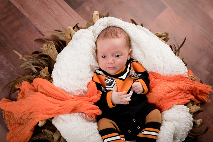 Baby in NRL Tigers Constume